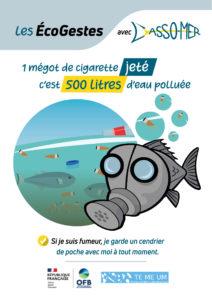 Ecogeste impact des mégots sur le milieu aquatique.